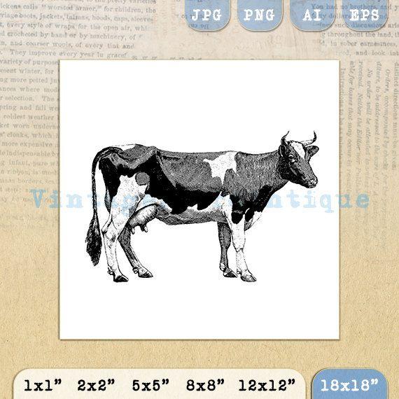 Digital Graphic Cow Printable Farm Animal by VintageRetroAntique