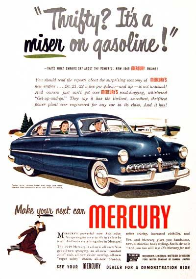 1949 mercury coupe original vintage advertisement thrifty its a miser on gasoline thats