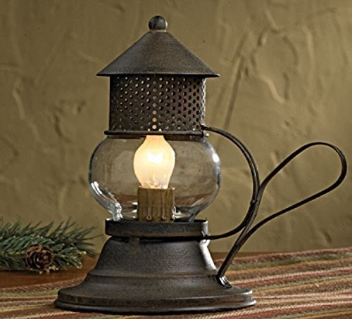 New Primitive Rustic Brown Barn ONION LANTERN Electric Lamp Candle Light