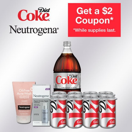 Check out this offer to get $2 off participating Diet Coke® and NEUTROGENA® products at participating CVS/pharmacy locations while supplies last.