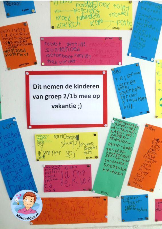 Vakantielijstje maken, thema camping, rollenspel en hoeken voor kleuters, kleuteridee.nl, preschool camping theme.