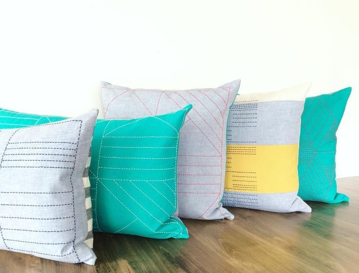 Handmade Linen Pillows with Sashiko Thread Hand-Stitched Details. Designed and Made in Toronto.