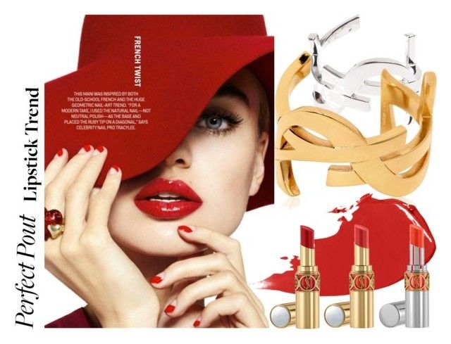 Lady In Red by betiboop8 on Polyvore featuring beauty, Hourglass Cosmetics, Yves Saint Laurent, contest and lipsticktrend
