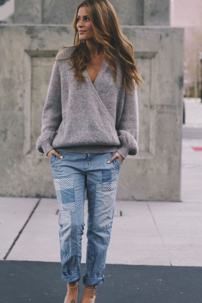 Patched pinstripe pants and free people sweater