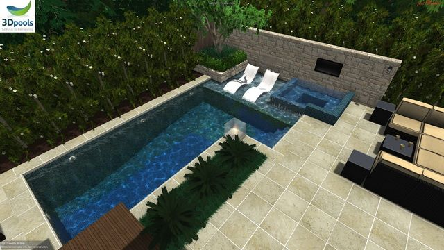 Fun & modern family pool with stone feature wall & raised spa plus a shallow sun lounge area. Buy this pool design and many more stylish designs at www.3d-pools.com.au