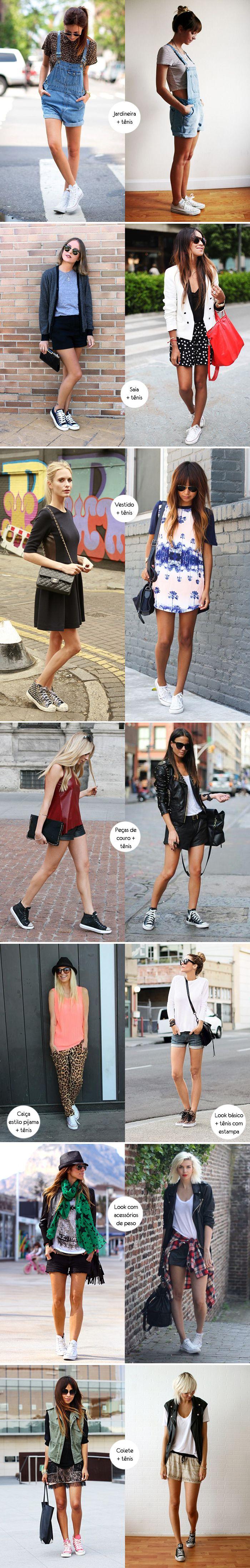 Para inspirar, inspiração, como usar, looks com tênis, sneaker