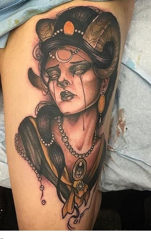 Girl with horns done at the Seattle Tattoo Expo by Ian (@blaquebird) from @blaqueowltattoo - Missoula MO