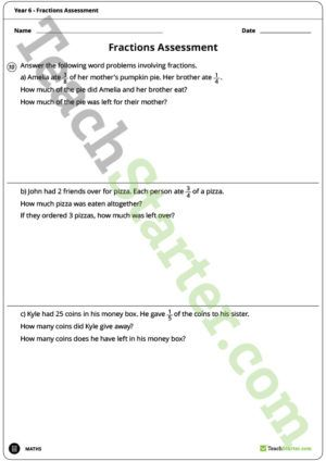 Fractions Assessment – Year 6