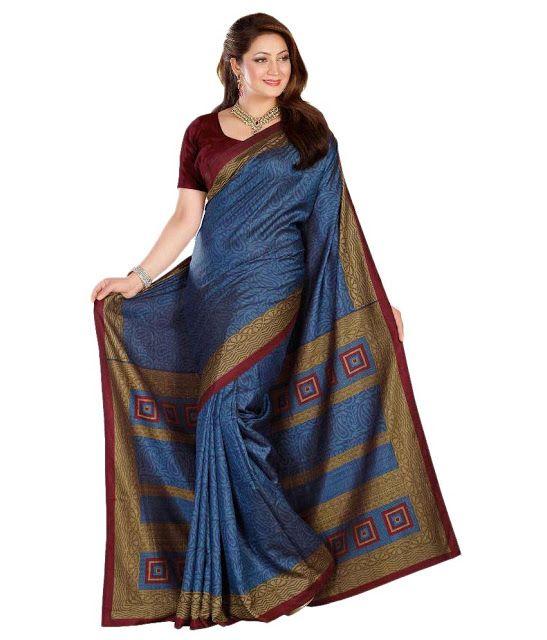 Shop Online In India | Women Apparel, Sari , Salwar Kameez,Kurtis,Lehengas@kavvyafashion: Shop Sky Blue Printed Casual Wear Saree From Amazon