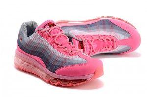 Korting Nike Air Max 95 Dynamic Flywire Dames Hardloopschoenen Neon Roze Grijs Zalm Uitverkoop