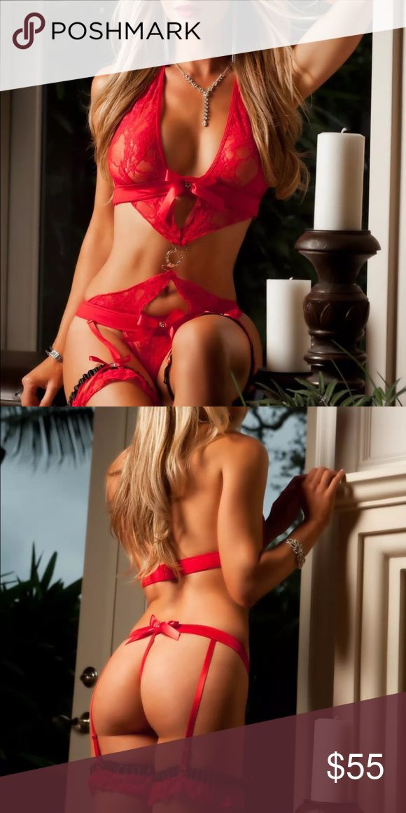 ✨Just in! ❤️Valentine's Day 3 piece Lingerie Set❤️ ✨Just in! ✨❤️✨Valentine's Day 3 piece Lingerie Set✨❤️✨Seriously sexy Red open bra, cut-out garter skirt with rhinestones + bows and built-in thong✨❤️✨Matching stockings with bows included✨❤️✨Made of Nylon/Spandex✨❤️✨One Size Fits most✨❤️✨(Best fits sizes 2-8)✨❤️ Intimates & Sleepwear