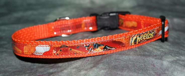 Adjustable Cat or Toy Dog Collar from Recycled Cheeto's Crunchy Bags by squigglechick on Etsy