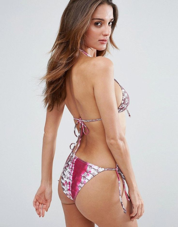 ASOS Snake Tie Dye Print Lace Up Triangle Bikini Top - Multi
