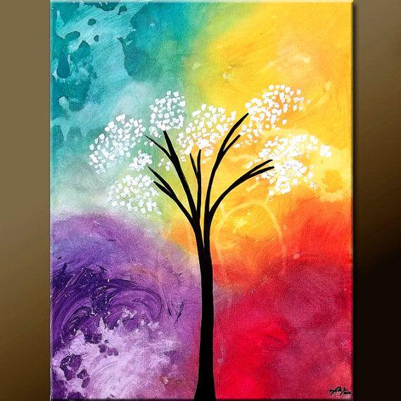 BEAUTIFUL SOLITUDE - Abstract Tree Art Painting on Canvas 18x24  Original by Destiny Womack, aka dWo, $69.00
