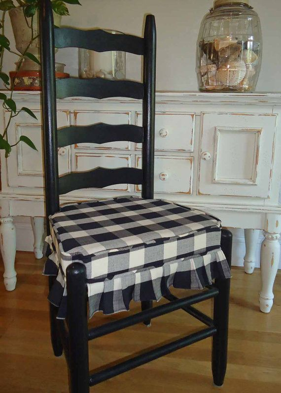 Mr and Mrs Vintage Ladder Back Chairs -  Black and Cream Buffalo Square Check Ulphostered Seats - Breakfast Nook Delight on Etsy, $200.00