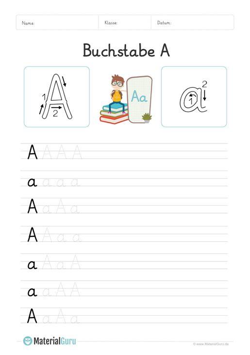 arbeitsblatt buchstabe a grundschrift  a und a auf