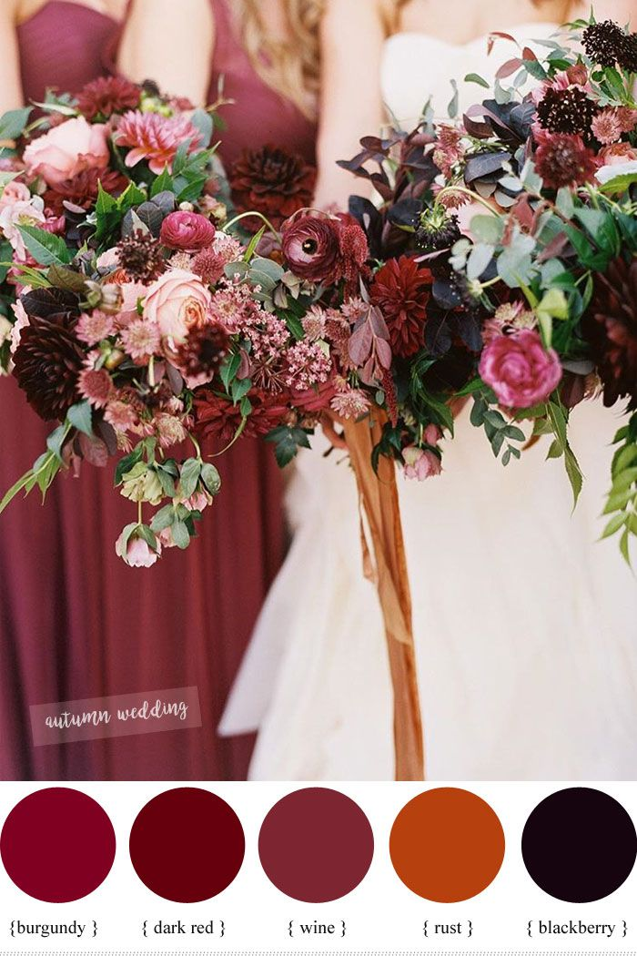 Burgundy,Dark Red , Rust and Wine fall wedding color schemes | fabmood.com #weddingcolor #fallwedding #burgundywedding #rustautumn