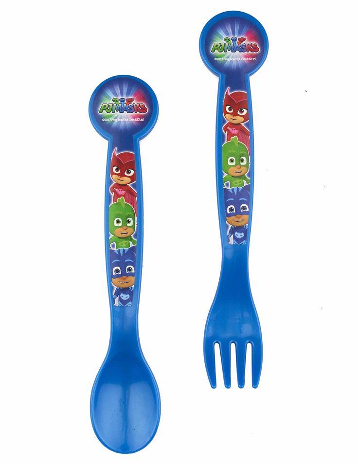 Cubiertos de plástico Pj Masks™: Este lote incluye un tenedor y una cuchara de plástico con licencia oficial Pj Masks™.Son de color azul mien unos 16 cm.Los héroes de Pj Masks estan dibujados en tus...
