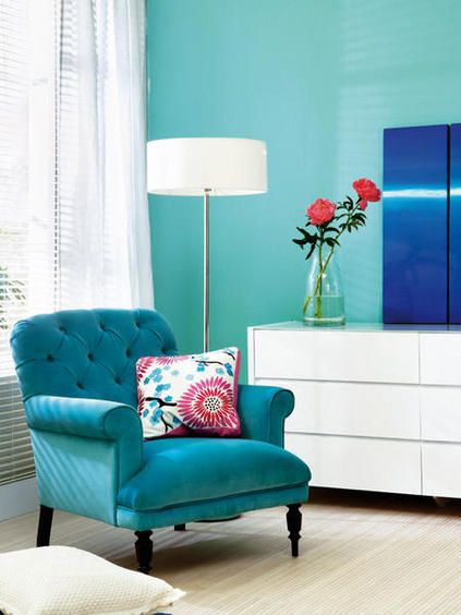 Perfect colours for relaxing and reading a good book! #readingnook #readingcorner #homedecor #design #turquoise
