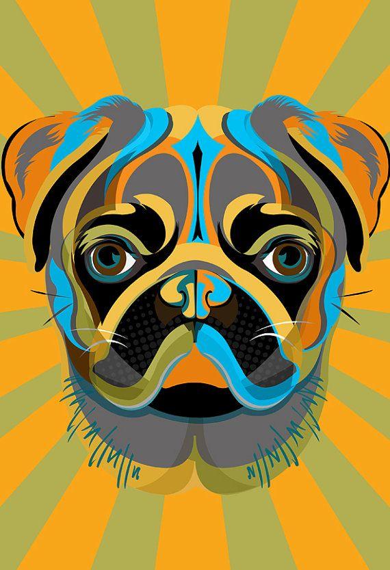 Pug perro art print pop art decoraci n mascotas - Decoracion pop art ...