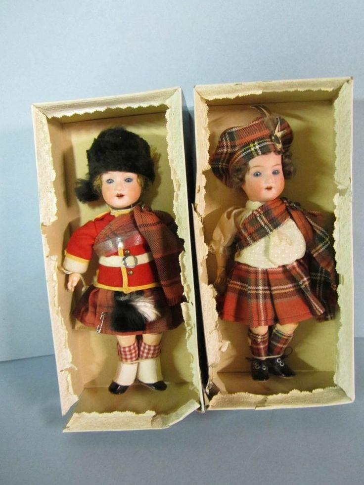 """Pair 9"""" Beautiful German Bisque Scottish Laddie Dolls"""