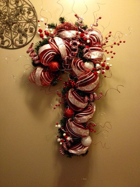 Candy Cane Wreath for Christmas!