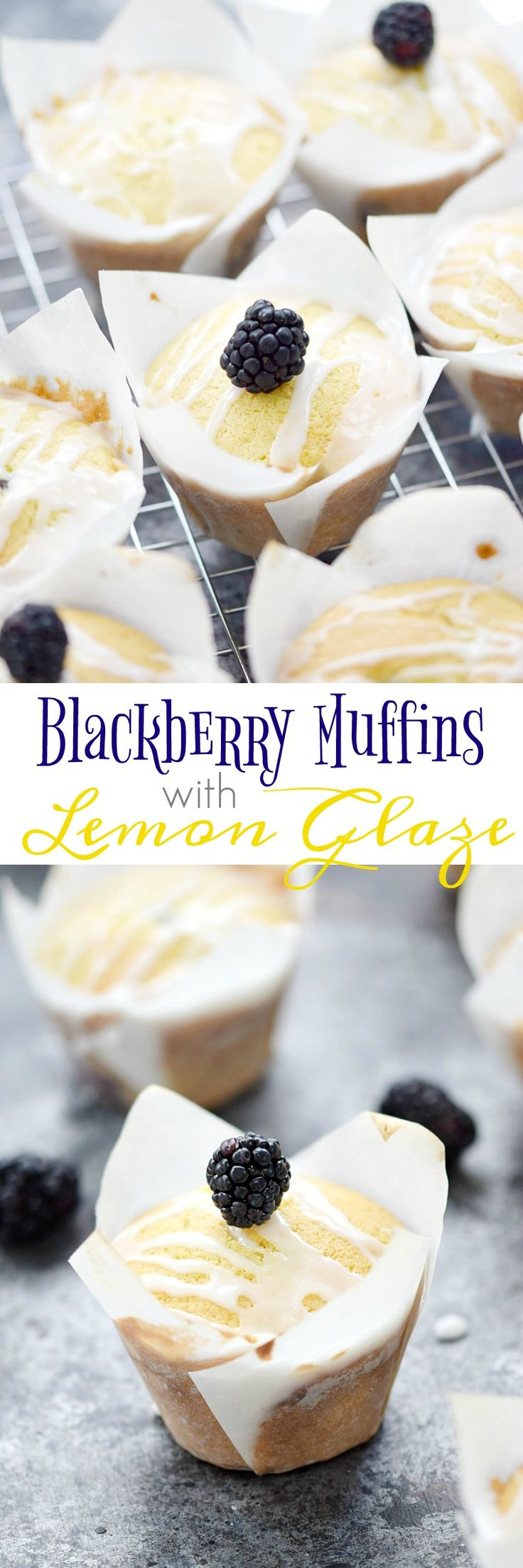 Bakery style muffins studded with blackberries and topped with a lemon glaze, make these Blackberry Muffins with Lemon Glaze a perfect breakfast treat | cookingwithcurls.com