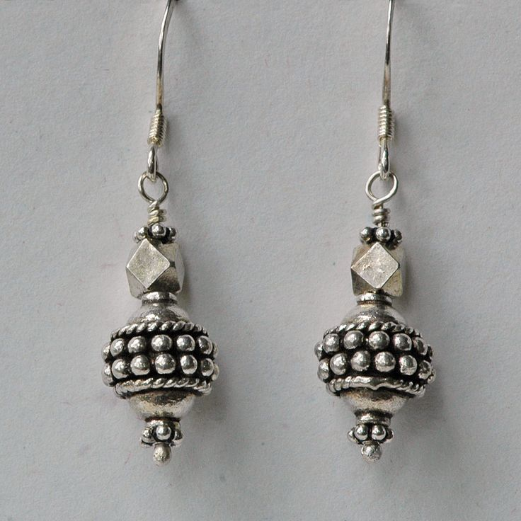 """India sterling silver beads on sterling french hook ear wires. 1 1/2"""" long"""