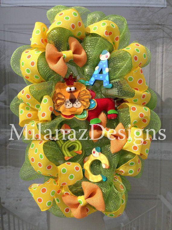 Baby Boy Wreath, First Birthday Wreath, Baby Shower Wreath, Lion Wreath, ABC Wreath, Nursery ...