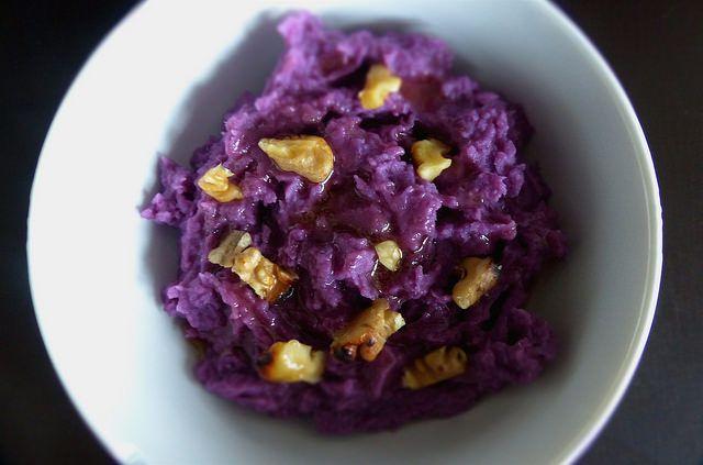 Yeux friands et Bouche bée...: Purée de patates douces violettes et sauce à l'érable