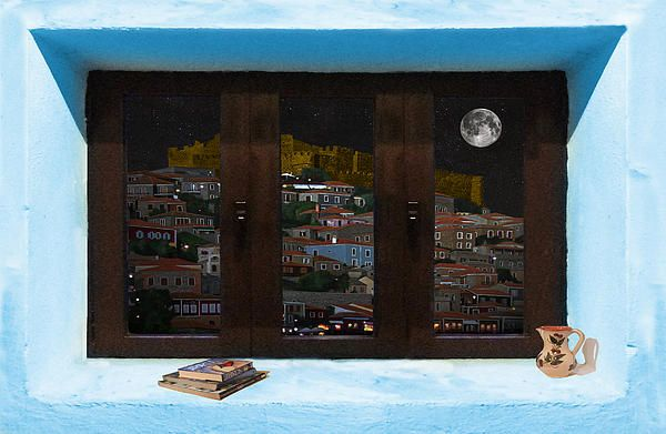 Window Into Greece 2 Outlook.  A New collection of digital paintings by Eric Kempson Eftalou, Molyvos, Lesvos, Greece  http://eric-kempson.artistwebsites.com www.epsilon-art.com
