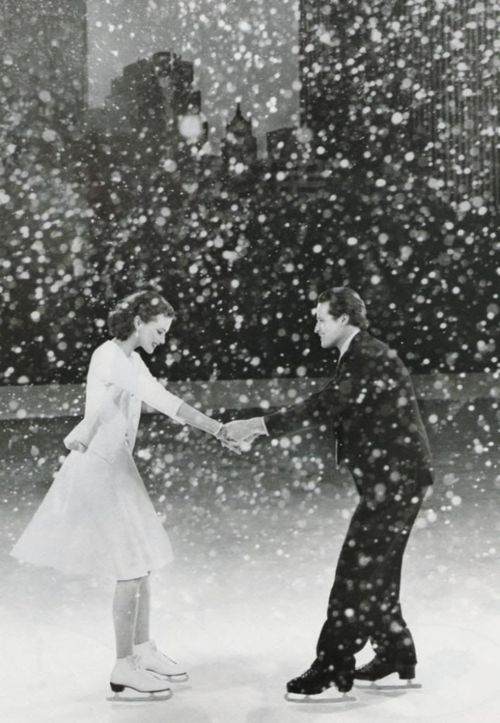 cute couple ice skating in the snowOld Black And White Romantic Photos