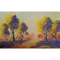 YELLOW AND BLUE (Oil on stretched canvas and can be hung as is: Size: 900mm x 550mm x 20mm)