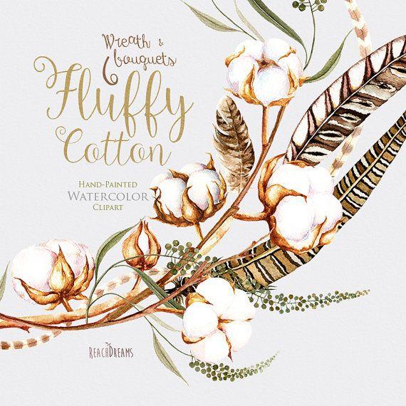 Watercolor Cotton Wreath & Bouquets Pheasant от ReachDreams