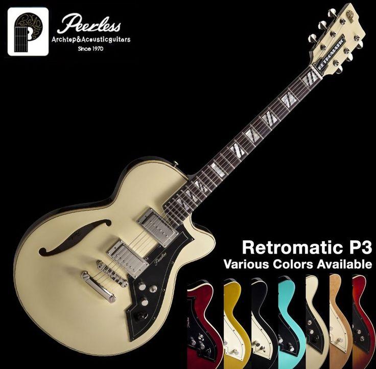 "Peerless Retromatic P3 Semi Hollow Body Jazz Electric Guitar 15"" Varitone Knob #Peerless"