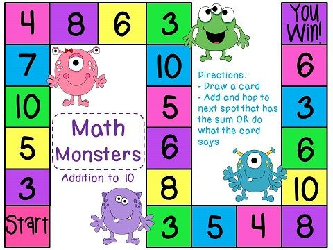 Math Monsters Addition to 10 board games - super fun! 72 game cards ...