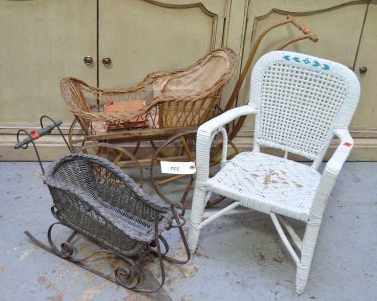 Vintage Wicker Doll Furniture, 3 Pc