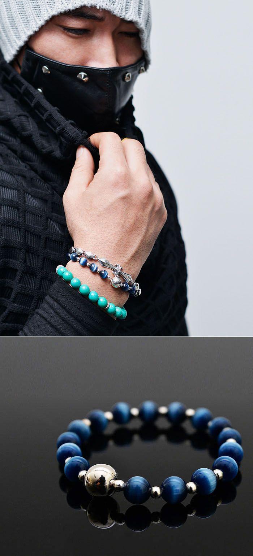 Mens Real Silver & Cat's Eye Gemstone Bead Bracelet By Guylook.com