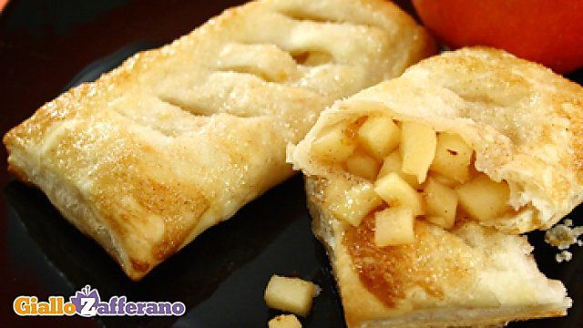 Bundles of puff pastry with apple heart