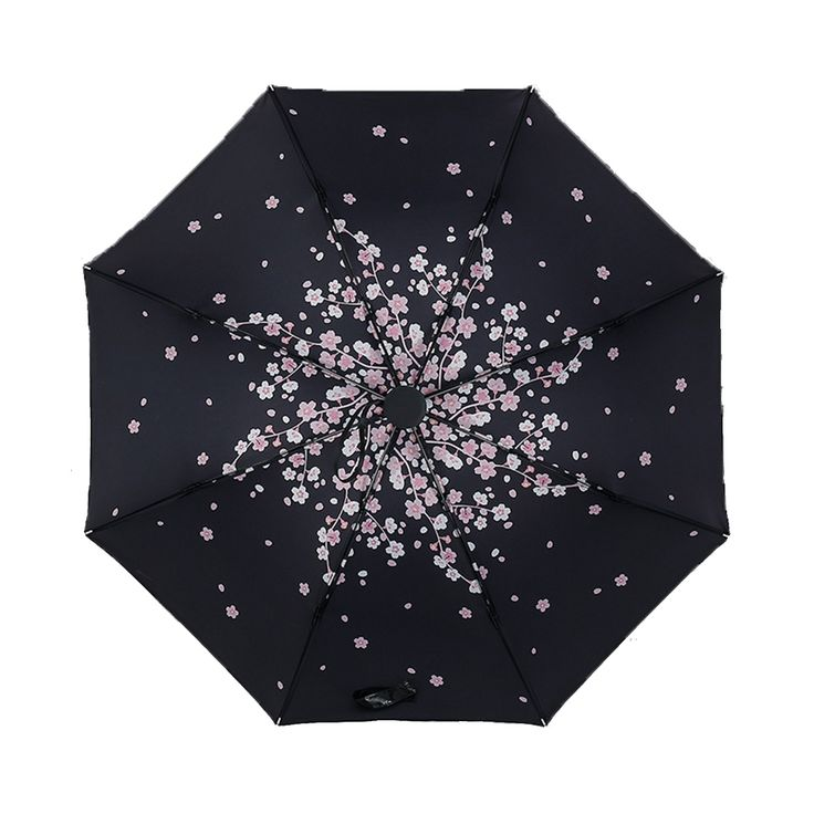 New Cherry Blossoms Design Black Umbrella Cool Fashion anti-uv Sakura Flower Umbrella Female Rain Tools Sun Parasol