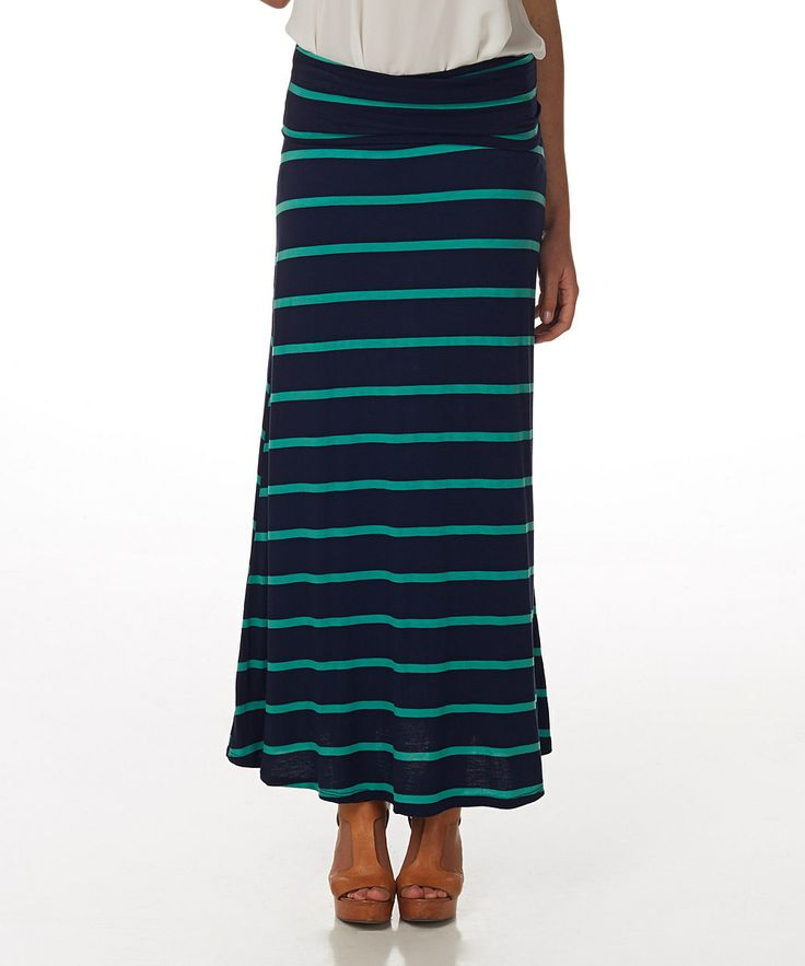 navy blue green stripe maxi skirt my style
