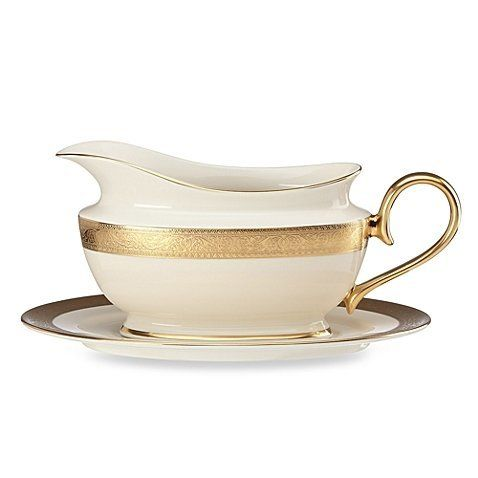 LENOX Westchester Sauce Boat Set- Ivory/Gold $425 - FREE SHIPPING OR PICK UP - COMPARE ELSEWHERE $470+) InterexHome.Com