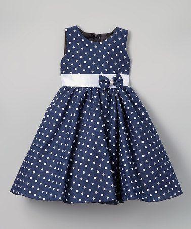 Look what I found on #zulily! Navy & White Dot A-Line Dress - Infant, Kids & Tween #zulilyfinds