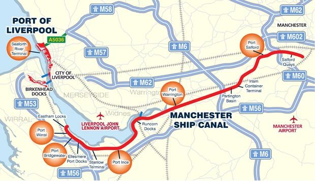 Liverpool To Manchester Map  Industrial Revolution
