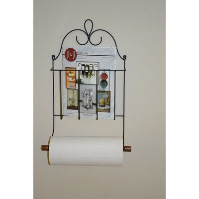 J & J Wire Wall Mounted Victorian Magazine Paper Towel Holder