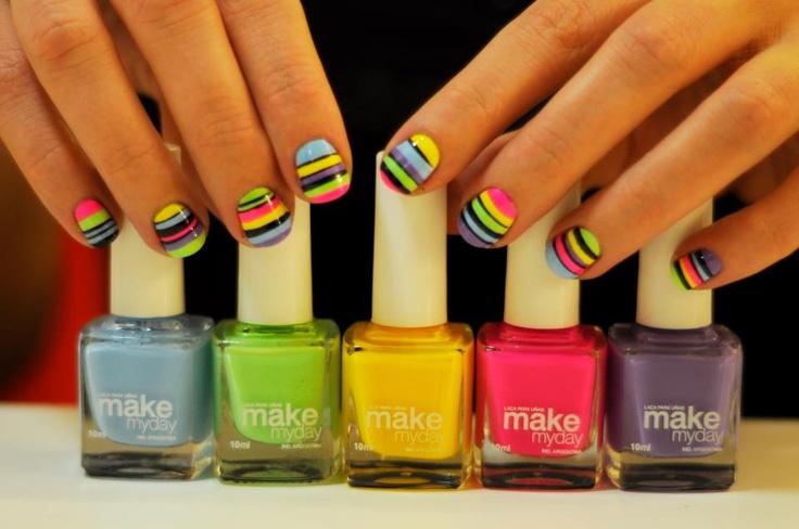 Uñas Makemyday: Nailpolish Manicures, First De, Bright Nails Polish, Rainbows, Hair Nails, Life Colors, Stripes, Nails Polish Colors, De Colors