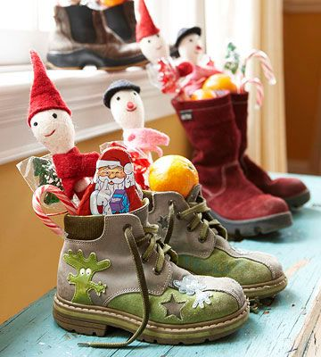 (Grandma party) A new tradition ~ instruct your children to place their empty boots or shoes by a door or windowsill on the night before St. Nicholas Day (December 5). While they are sleep, fill each with sweet treats and trinkets. When they awake the next morning, your kids will be amazed to find these special goodies.