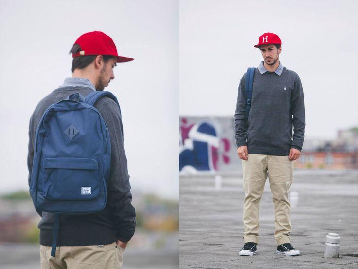 Volcom Chambro Shirt L/S / Element Lodge Laine / Volcom Vorta Twill Jeans / Huf Classic 6 Panel Cap Red / Herschel Heritage Backpack