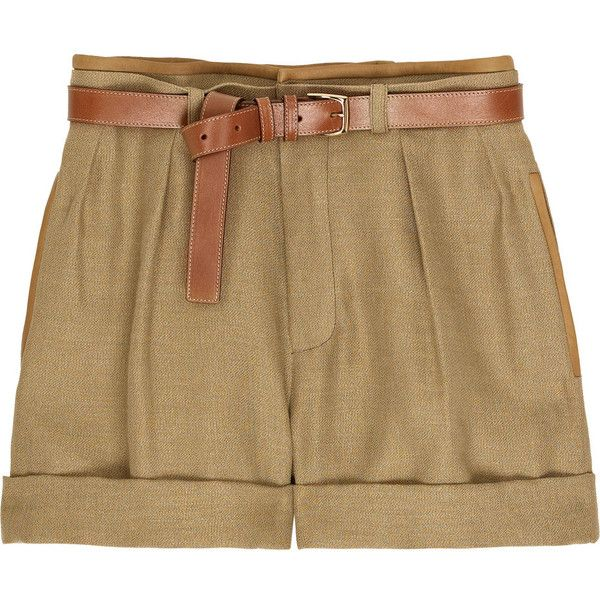 Chloé High-waisted linen shorts ($575) ❤ liked on Polyvore featuring shorts, bottoms, pants, short, women, high waisted short shorts, pocket shorts, layered shorts, brown shorts and high rise shorts