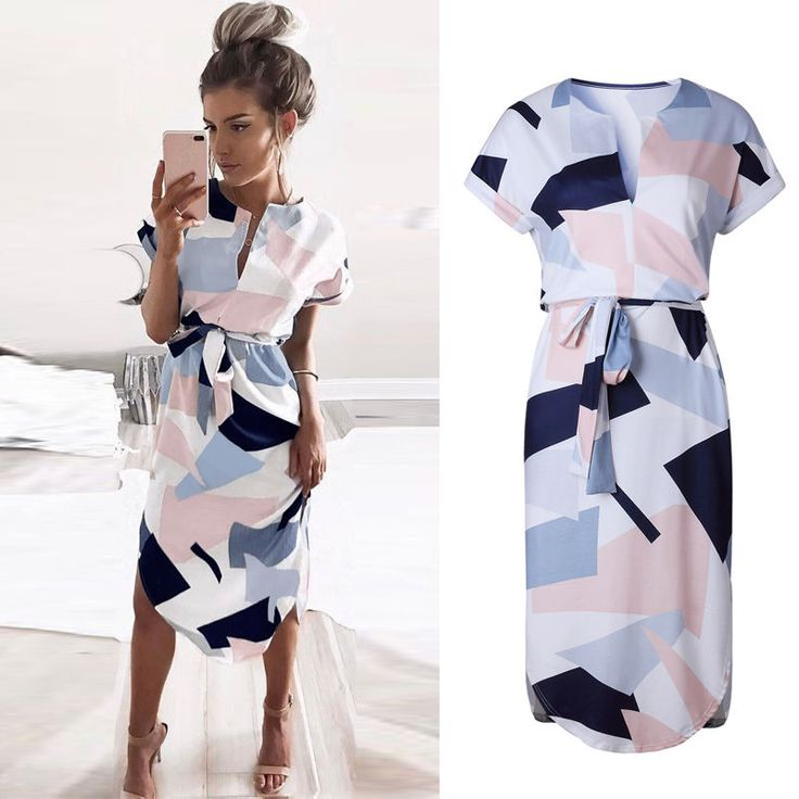 Summer Women Boho Long Evening Party Cocktail Casual Beach Dress Short Sleeve XL | Clothing, Shoes & Accessories, Women's Clothing, Dresses | eBay!